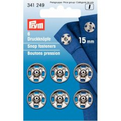 Prym Sew-on snap fasteners brass silver - 5pcs