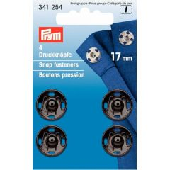 Prym Sew-on snap fasteners brass 17mm black - 5x4pcs