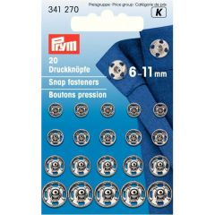 Prym Sew-on snap fasteners brass ast. 6-11mm - 5x20pcs