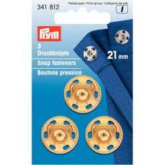 Prym Sew-on snap fasteners brass 21mm gold - 5x3pcs
