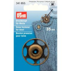 Prym Sew-on snap fasteners wool 35mm old brass - 5pcs