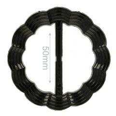 Decorative buckle round wavy 50mm - 6pcs