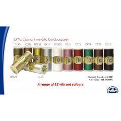 DMC Diamant thread 12 colors x 6 spools + FREE  DISPLAY