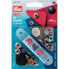 Prym Non-sew press fast. ANORAK MS lacq. 15mm - 5pcs.BB