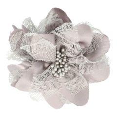 Prym Brooch flower 10cm grey-silver - 3pcs