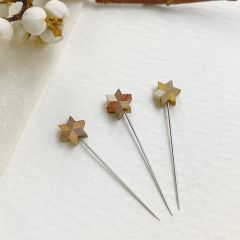 Cohana Parquet star pins 0.50x35mm winter gold - 1x3pcs