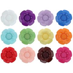 Button flower interch. heart size 40 - 25.00mm - 11x40pcs
