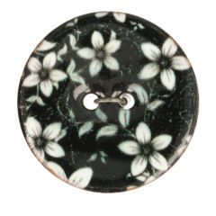 "Button coconut Flower black - white 44"", 48"" or 54"""