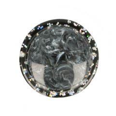 "Button marbled-glitter rim size 32"" - 50pcs"