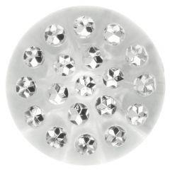 Button transparant w. rhinestones - 30-50pieces
