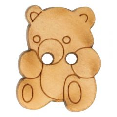 Wooden button bear lasered 11,3mm - 50pcs