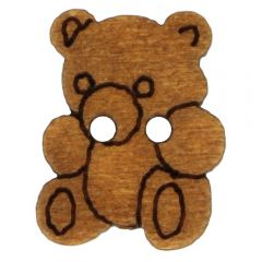 Wooden button bear lasered 8,8mm - 50pcs