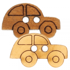 Wooden button car laser cut 11.3mm - 50pcs