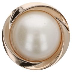 "Button pearl in metal 20"" - 50pcs - SI/GO"