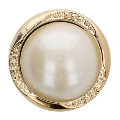 """Button pearl in metal worked Gold or silver 40"""" - 40pcs"""