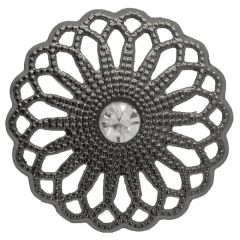 "Button Flower open-work with rhinestone 40""  -  40pcs"