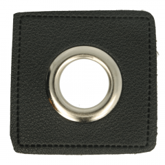 Eyelets on black faux leather square 14mm - 50pcs