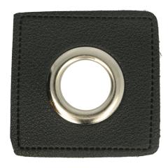 Eyelets on black faux leather square 11mm - 50pcs