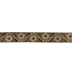 Woven ribbon 33mm black with flowers silver and gold - 25m