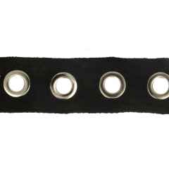 Woven eyelet ribbon 35mm black - 10m