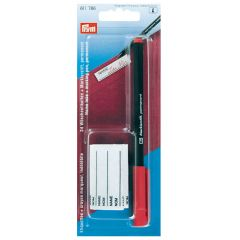 Prym Marking pen with 24 name tabs red pen - 5pcs
