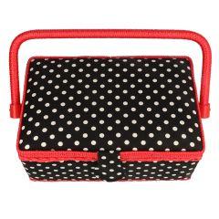 Prym Sewing Basket Polka Dots S black-white - 1pc