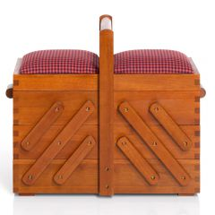 Prym Sewing box wood with fabric 36x19x30cm dark - 1pc