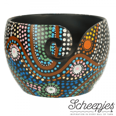 Scheepjes Yarn bowl mango wood 11x12.5cm Dot Painting - 1pc