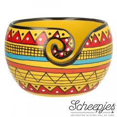 Scheepjes Yarn bowl mango wood 11x12.5cm Yellow Stripe - 1pc