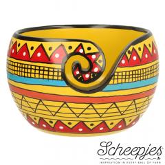 Scheepjes Yarn bowl mango wood Yellow Stripe - 1pc
