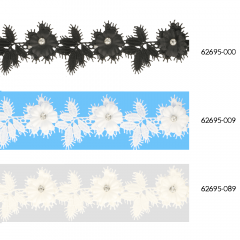 Floral lace trim with leaves and rhinestones 43mm - 13.7m