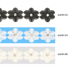 Lace trim with single flower and rhinestone 25mm - 13.7m