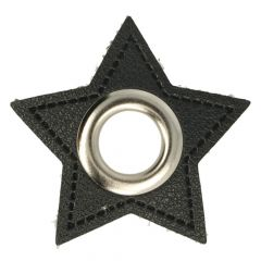 Eyelets on black faux leather star 11mm - 50pcs