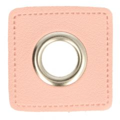 Eyelets on pink faux leather square 14mm - 50pcs