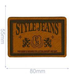 Leatherette label style jeans 80x55mm - 5pcs - 01