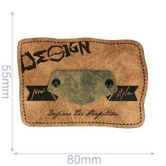 Leatherette label design 80x55mm - 5pcs
