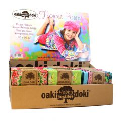 Oaki Doki Quilting fabric Flower Power 75x50cm - 54pcs