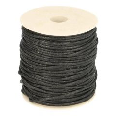 Waxed cotton cord black 2,2mm - 50m