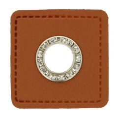 Eyelets diamantes brown faux leather square 11mm - 50pcs