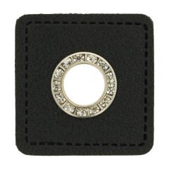 Eyelets diamantes black faux leather square 11mm - 50pcs