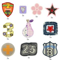 HKM Iron-on patch assortment numbers and shapes - 10x5pcs