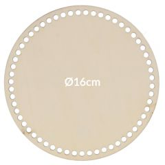 Wooden bag bottom round perforated 16-28cm - 5pcs
