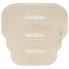 Wooden bag bottom rectangle perforated assortment - 3x3pcs