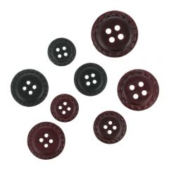 Button leather 4-hole assortment size 24-40 - 1pc