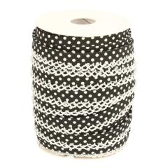 Bias binding with polka dot and picot edge - 25m