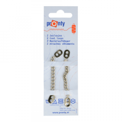 Pronty Metalen coat hanging loops silver - 10pcs