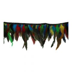 Ribbon with colored feathers 7-9 cm - 10m