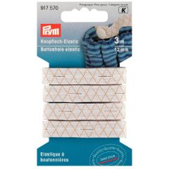 Prym Buttonhole elastic with 3 buttons 12mm black - 5x3m