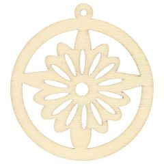 Wooden ornament round with star 4.5 cm - 10pcs