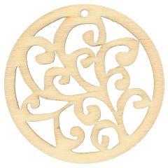 Wooden ornament round 4.5 cm - 10pcs